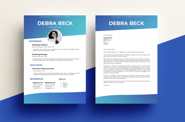 CV & Cover Letter – Gradient Blue