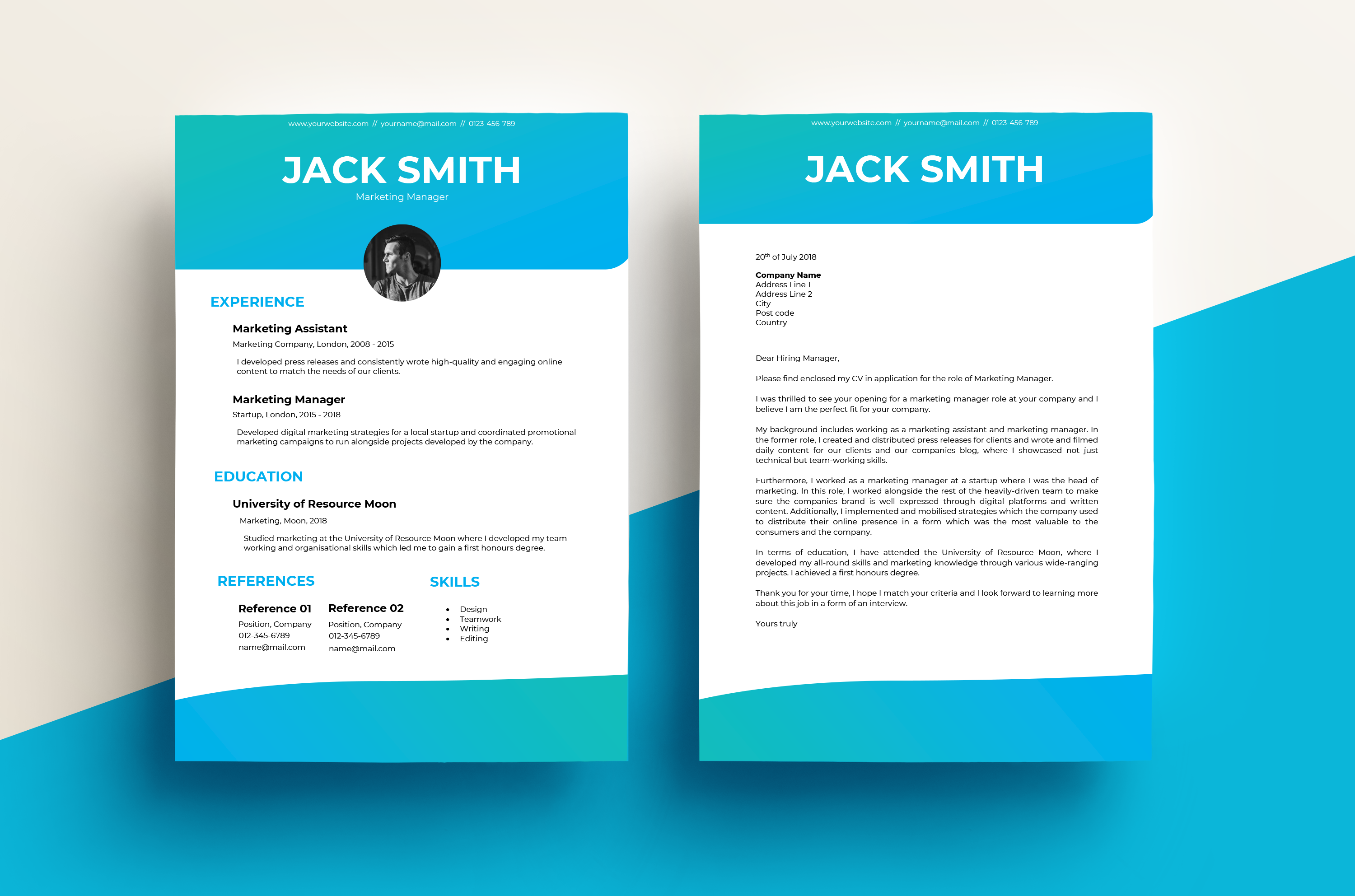 CV & Cover Letter – Gradient Light Blue Template | Resource Moon