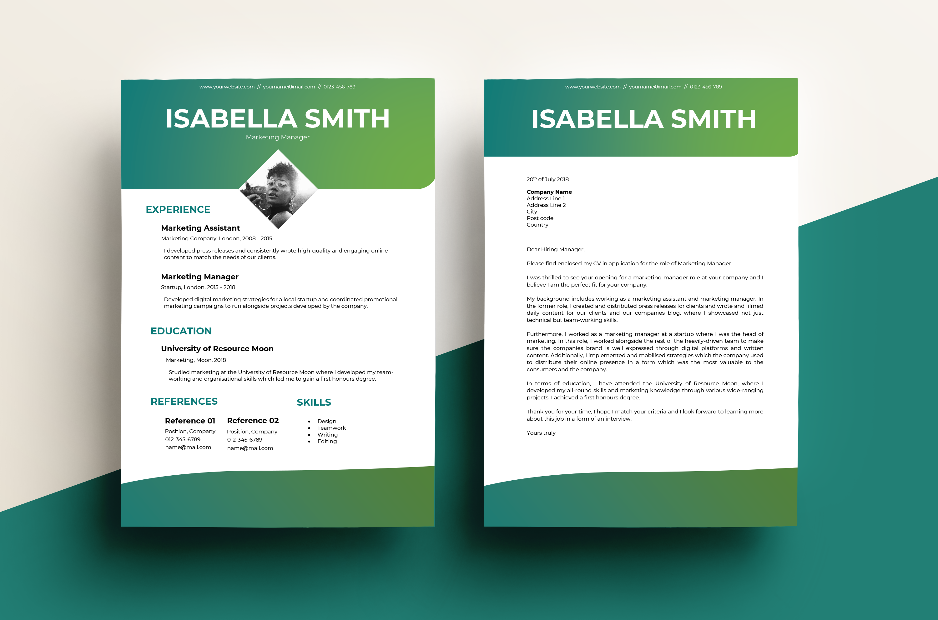 cv  u0026 cover letter  u2013 gradient green