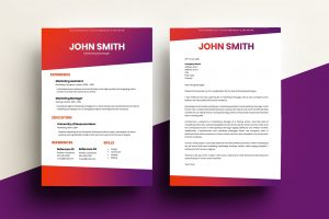 CV & Cover Letter - Gradient Red/Purple