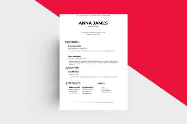 CV/Resume - Sales Associate I Template