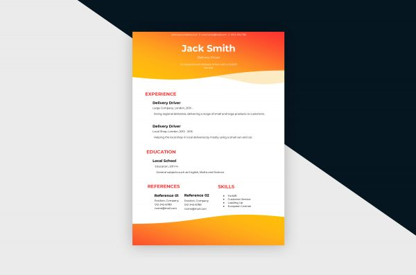 CV/Resume – Delivery Driver II Template