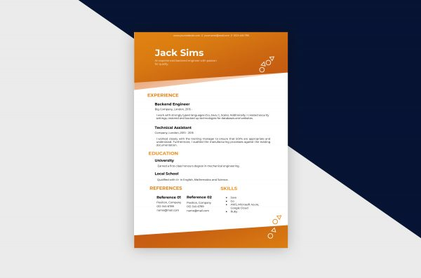CV/Resume – Engineer II Template