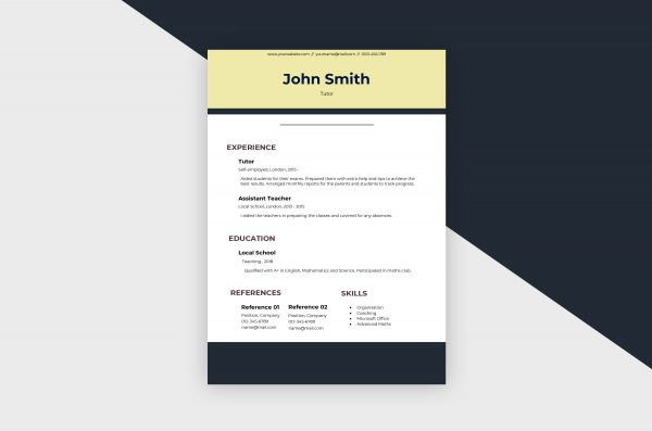 CV/Resume – Tutor I Template